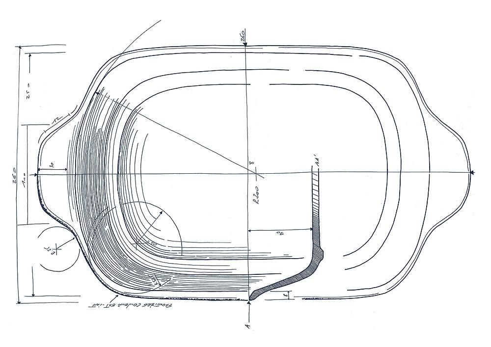 Dessin d'étude Le rectangle du plat est adouci dans son contour pour apporter plus de douceur.