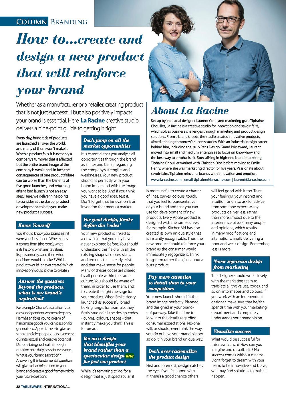 Interview du magazine Tableware International