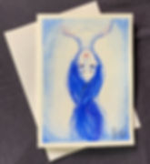 Upside Down Girl, A hand painted in watercolor blank greeting card of a blue girl, upside down