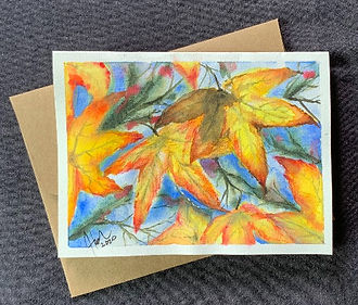 Autum Leaves, a handpainted watercolor blank greeting card