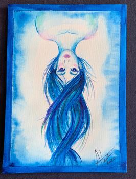 Upside Down Girl Greeting Card $8