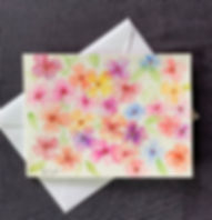 Watercolor Flowers, a handpainted blank greeting card