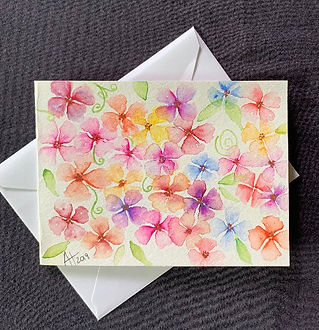 Watercolor Flowers, a handpainted blank greeting card