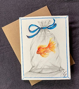 Fair Prize, a hand painted in watercolor, blank greeting card of a goldfish in a bag.