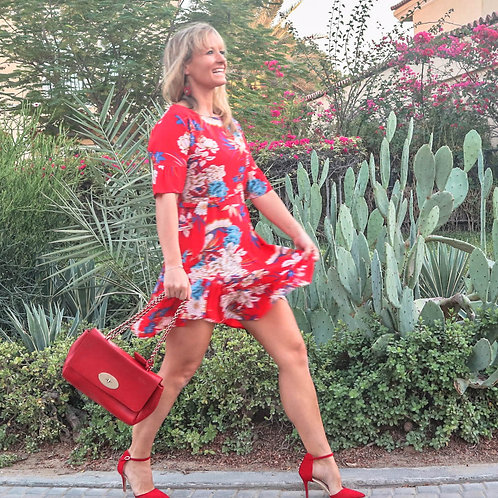 The Riot: Red Floral Print Dress