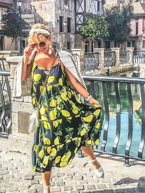 The Lemon Dress: Navy and Yellow Lemon Print