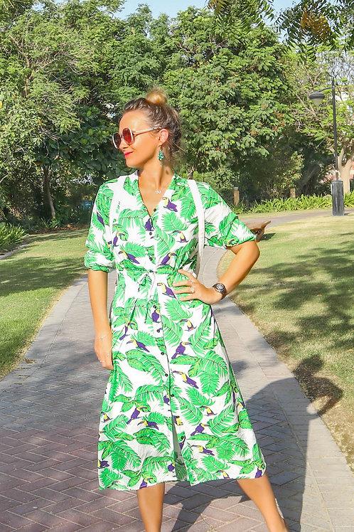 The Sally Dress: White & Green Tropical Print