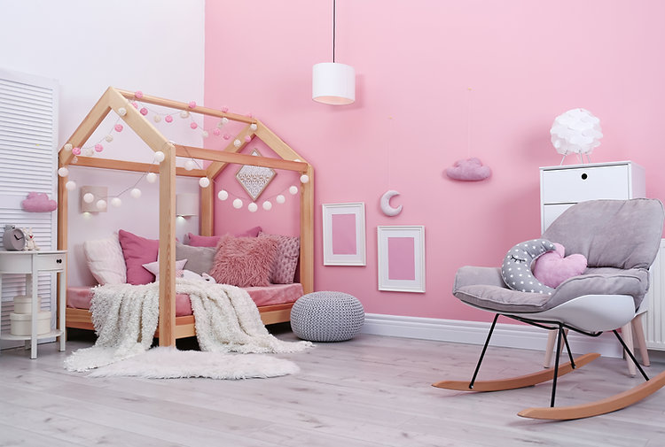 Child's room interior with comfortable b