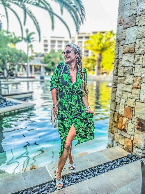The Sally Dress: Navy & Green Tropical Print