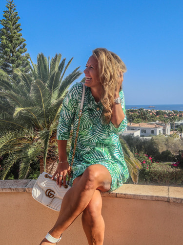 The Mallorca - Leaf Print Shift Dress
