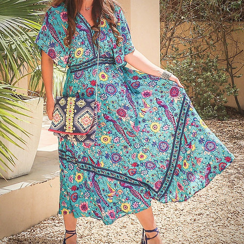 The Lovebird: Boho Aqua Dress