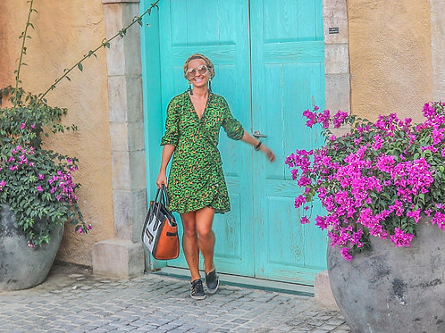 The Ruffle Wrap Dress: Animal Print - Green