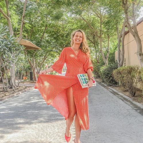 The Classic Wrap Dress: Orange Polka Dot
