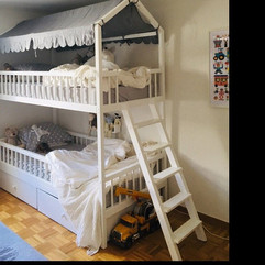 Bunk beds with ladder and storage