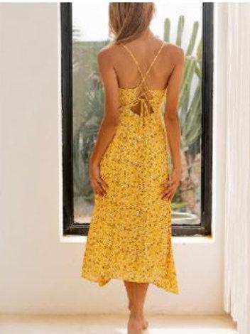 Yellow Daisy Cut Out Back Dress
