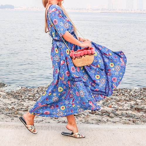 The Lovebird: Boho Blue Dress