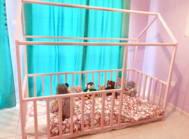 Pink house bed with rails