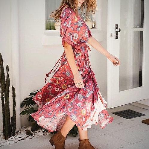 The Lovebird: Boho Red Dress