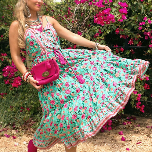 The Saffron: Floral Green & Pink Dress