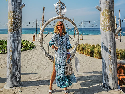 Nikki Beach Green & White Dress