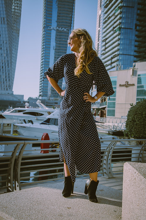 The Classic Wrap Dress: Navy Polka Dot