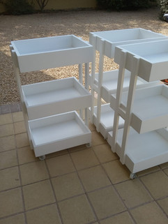Storage trays on wheels
