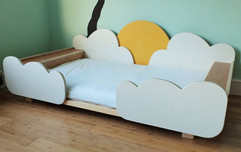 Montessori bed frame with clouds