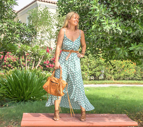 The Jessica - Green Polkadot Dress