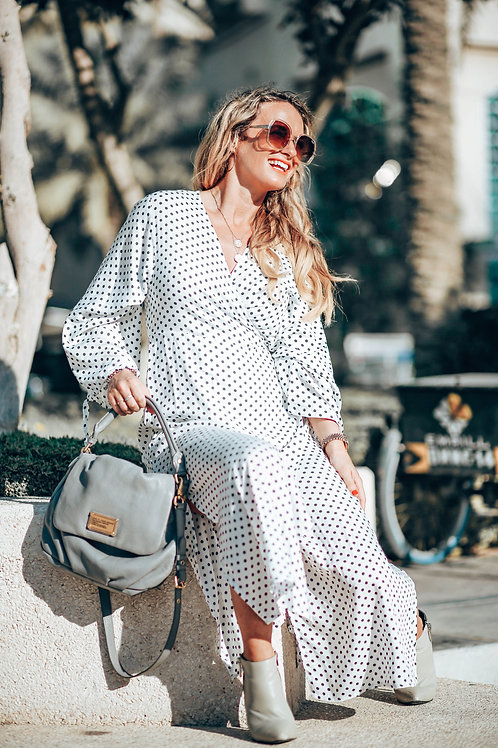 The Classic Wrap Dress: White Polka Dot
