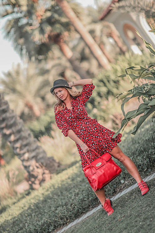 The Ruffle Wrap Dress: Animal Print - Red