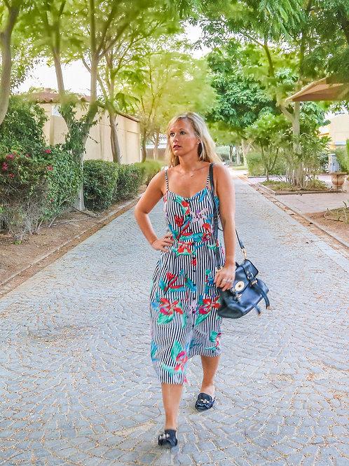The Jumeriah Dress: Navey Striped Print