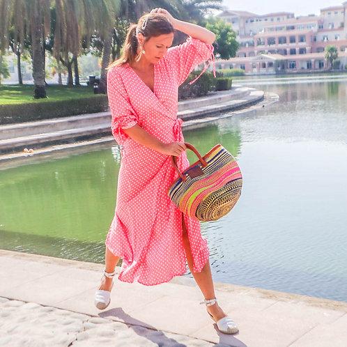 The Classic Wrap Dress: Bright Pink Polka Dot