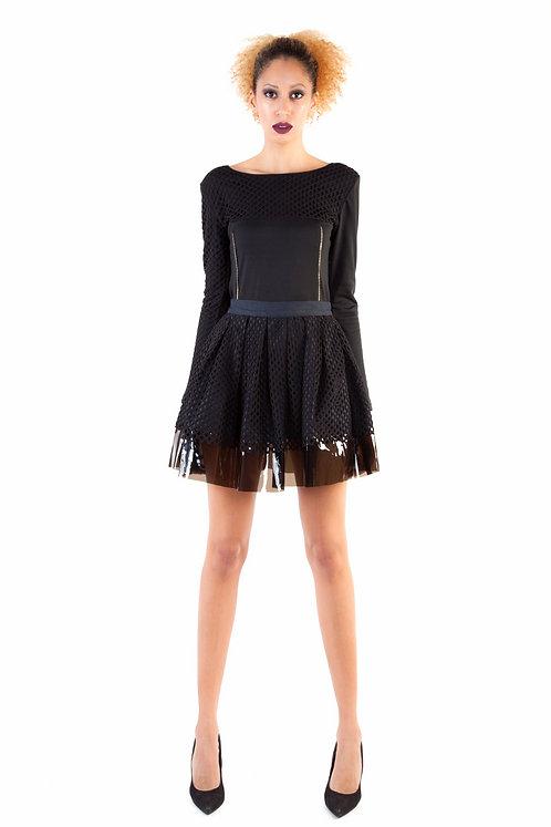 Pleated Textured Combo Skirt
