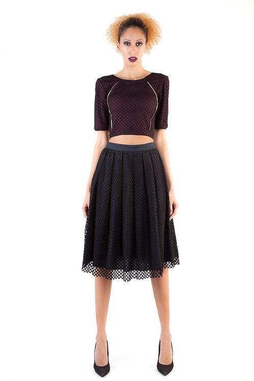 Full High Waist Pleated Skirt