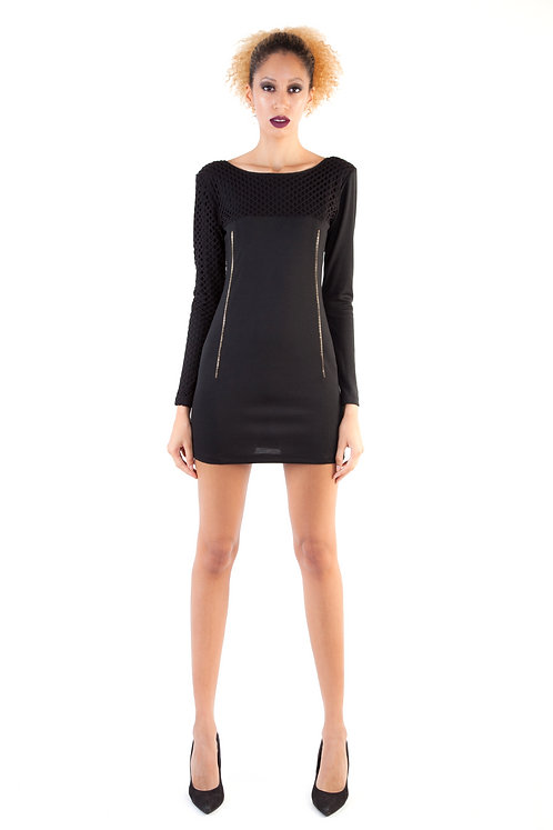 Textured Blocked Zipper Dress