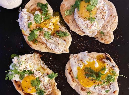Œufs au Castillon frais sur pain pita maison