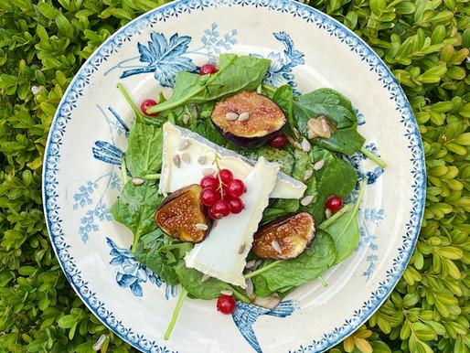 Pousses d'épinard, figues et Pouligny