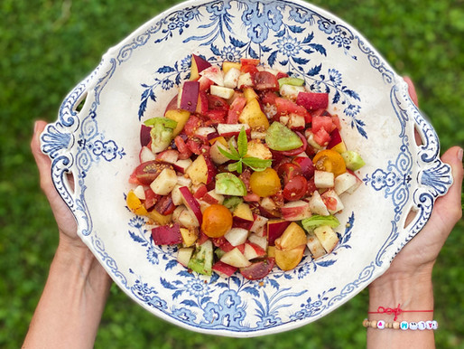 Salade d'été, tomates, nectarines, pralin & verveine