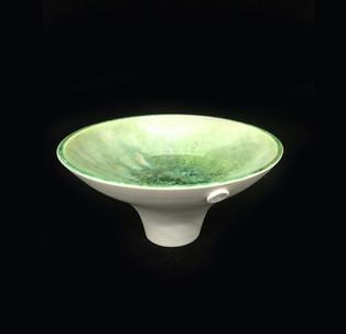 34) Vessle, exterior porcelain clay, interior green crystalline glaze