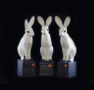 4) Hare, stoneware, white matte glaze, h 35 cm