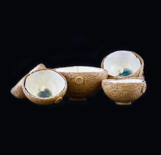 Crusted bowls, exterior coarse stoneware, interior porcelain clay/crystalline glaze