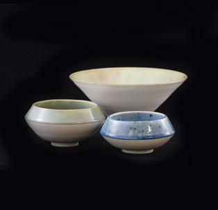 50) Vessles, exterior white porcelain clay, interior light blue and soft grenn glossy glaze