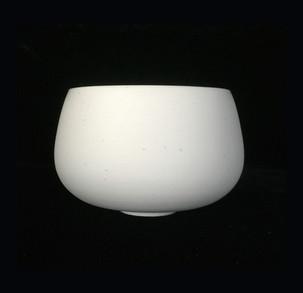 Bowl, exterior white porcelain clay, interior turquoise  glossy glaze.