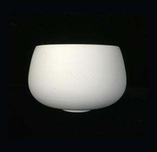 20) Bowl, exterior white porcelain clay, interior turquoise  glossy glaze.