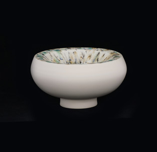 29) Vessle, doubble walled, exterior white stoneware, interior beige w black/green/blue spots glossy glaze