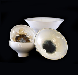 49) Vessles, exterior white porcelain clay, interior beige/white crystallin glaze