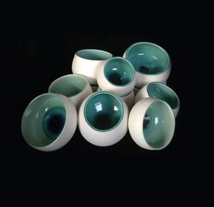 51) Bowls, exterior porcelaine clay, interior greenish/turquoise glossy glaze