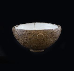 40) Crusted bowl, exterior coarse stoneware, interior porcelain clay/crystalline glaze