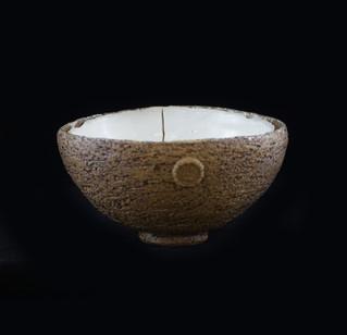 Crusted bowl, exterior coarse stoneware, interior porcelain clay/crystalline glaze