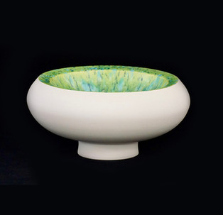 24) Vessle, doubble walled, exterior white stoneware, interior spotted limegreen glossy glaze